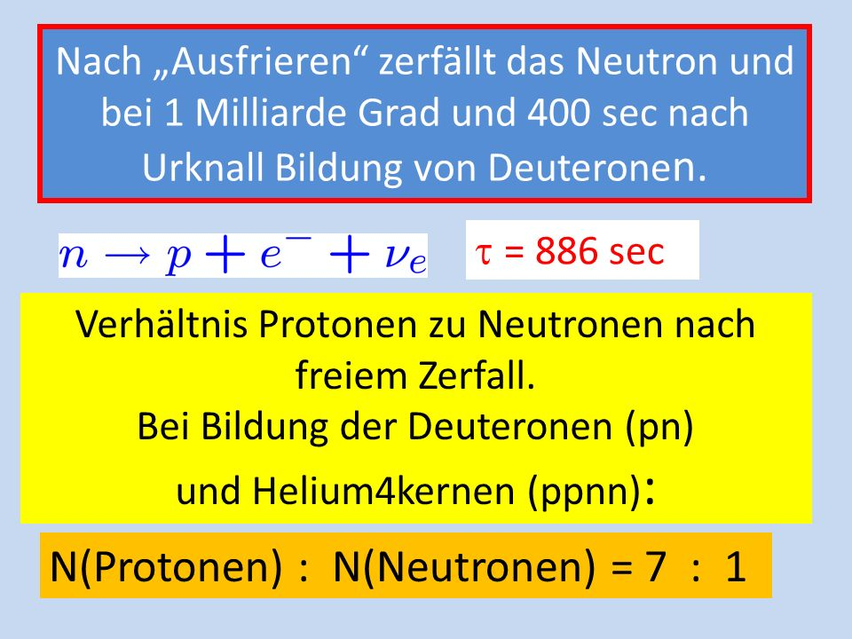 400 Sekunden nach Urknall: 1 Milliarden Grad; Kerne stabil Da Neutronen schwerer als Protonen: Zahl(Protonen) : Zahl( Neutronen) = 7 : 1 Bei 1 Milliar