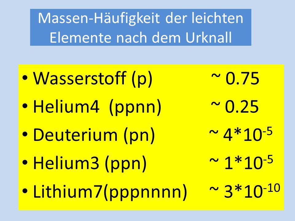 Nach Ausfrieren zerfällt das Neutron und bei 1 Milliarde Grad und 400 sec nach Urknall Bildung von Deuterone n. = 886 sec Verhältnis Protonen zu Neutr