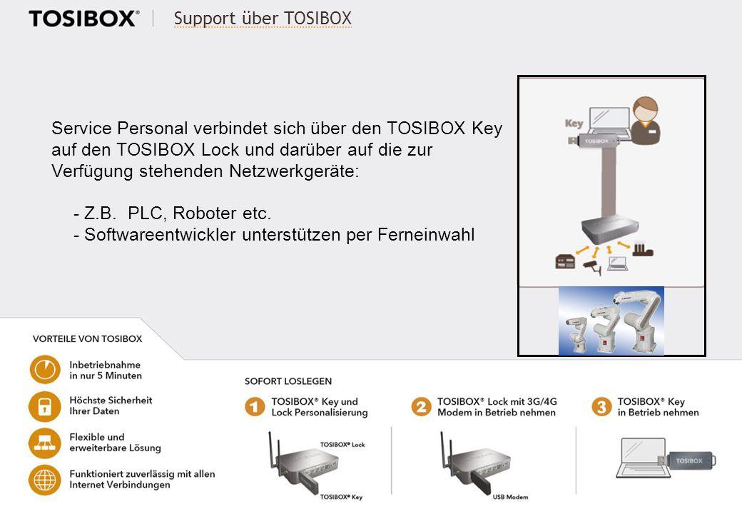 Support über TOSIBOX Service Personal verbindet sich über den TOSIBOX Key auf den TOSIBOX Lock und darüber auf die zur Verfügung stehenden Netzwerkger