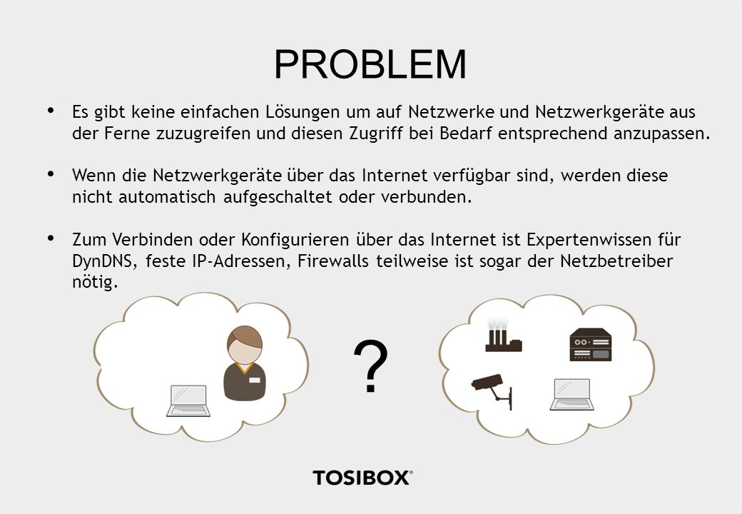 PROBLEM ? Es gibt keine einfachen Lösungen um auf Netzwerke und Netzwerkgeräte aus der Ferne zuzugreifen und diesen Zugriff bei Bedarf entsprechend an