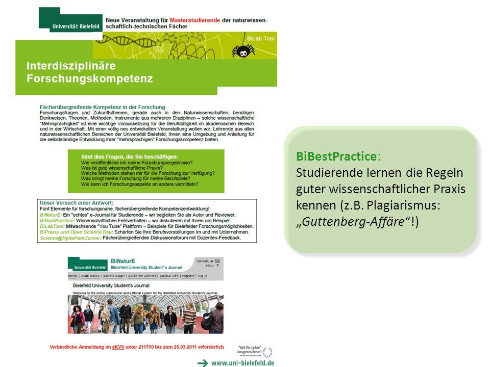 BiBestPractice: Studierende lernen die Regeln guter wissenschaftlicher Praxis kennen (z.B.