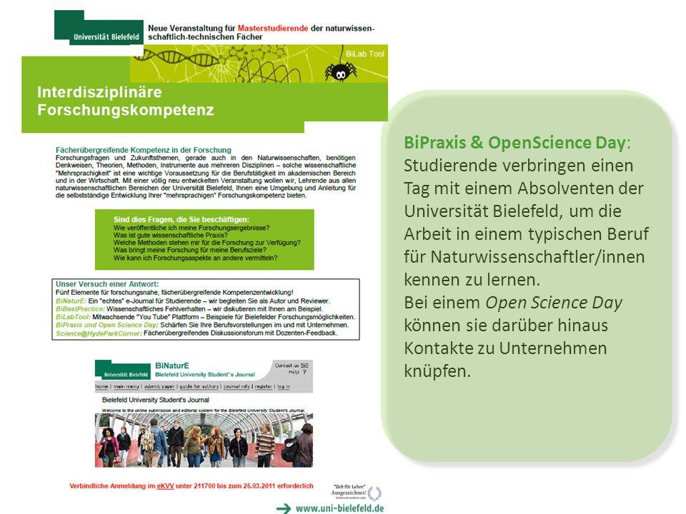 BiPraxis & OpenScience Day: Studierende verbringen einen Tag mit einem Absolventen der Universität Bielefeld, um die Arbeit in einem typischen Beruf für Naturwissenschaftler/innen kennen zu lernen.