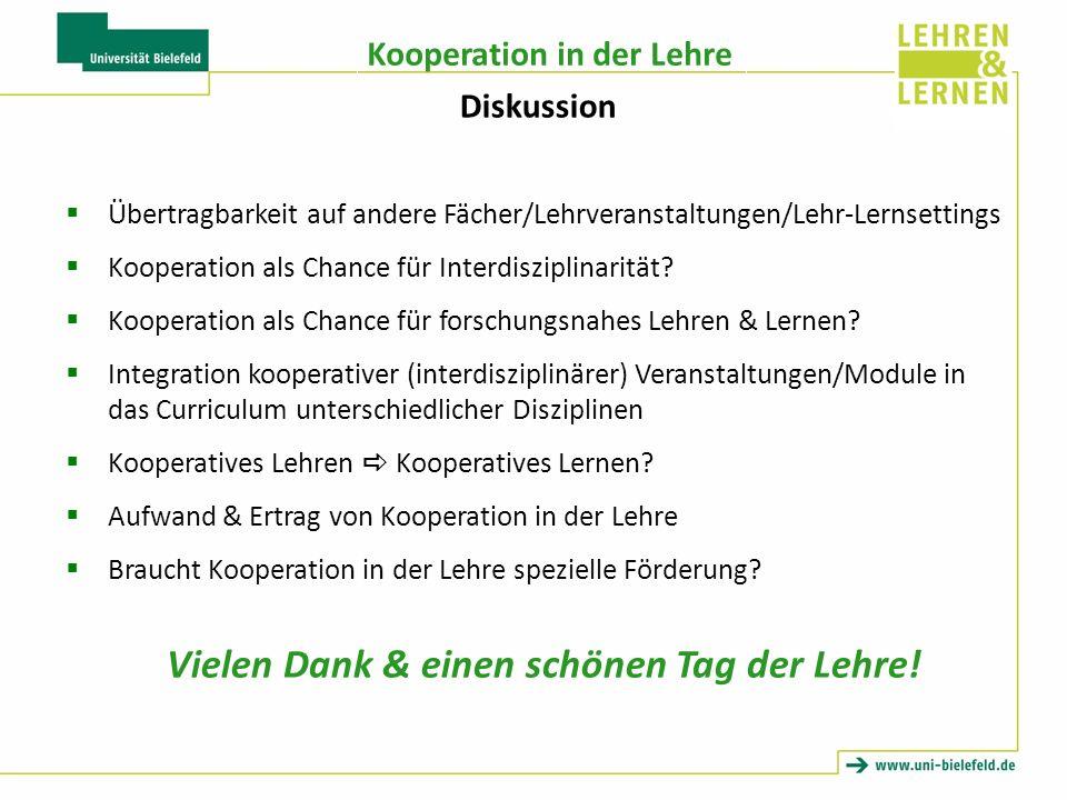 Kooperation in der Lehre Übertragbarkeit auf andere Fächer/Lehrveranstaltungen/Lehr-Lernsettings Kooperation als Chance für Interdisziplinarität.
