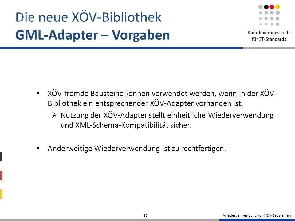 Wiederverwendung von XÖV-Bausteinen 13 Die neue XÖV-Bibliothek GML-Adapter – Vorgaben XÖV-fremde Bausteine können verwendet werden, wenn in der XÖV- B