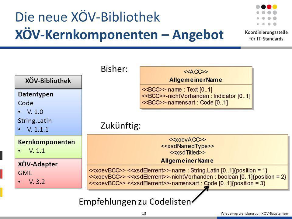 Wiederverwendung von XÖV-Bausteinen 15 Die neue XÖV-Bibliothek XÖV-Kernkomponenten – Angebot Bisher: Zukünftig: XÖV-Adapter GML V. 3.2 XÖV-Adapter GML