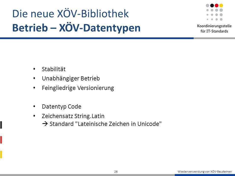 Wiederverwendung von XÖV-Bausteinen 26 Die neue XÖV-Bibliothek Betrieb – XÖV-Datentypen Stabilität Unabhängiger Betrieb Feingliedrige Versionierung Da