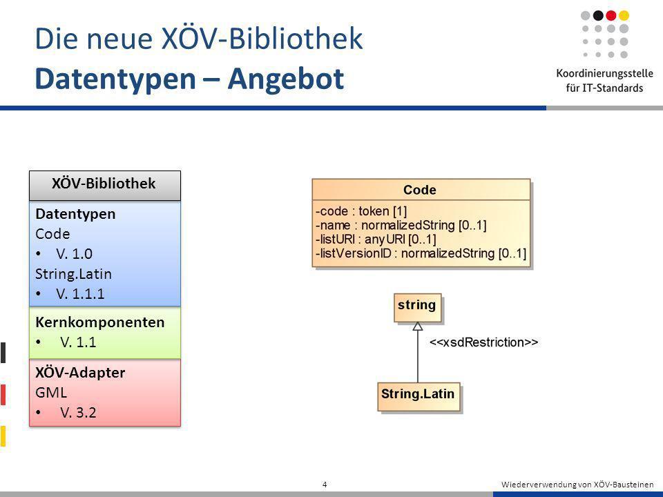 Wiederverwendung von XÖV-Bausteinen 4 Die neue XÖV-Bibliothek Datentypen – Angebot XÖV-Adapter GML V. 3.2 XÖV-Adapter GML V. 3.2 Kernkomponenten V. 1.