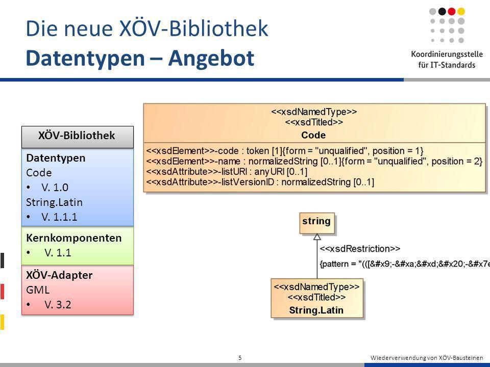 Wiederverwendung von XÖV-Bausteinen 5 Die neue XÖV-Bibliothek Datentypen – Angebot XÖV-Adapter GML V. 3.2 XÖV-Adapter GML V. 3.2 Kernkomponenten V. 1.