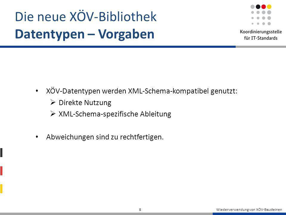 Wiederverwendung von XÖV-Bausteinen 8 Die neue XÖV-Bibliothek Datentypen – Vorgaben XÖV-Datentypen werden XML-Schema-kompatibel genutzt: Direkte Nutzu
