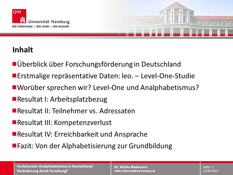 Dr. Wibke Riekmann wibke.riekmann@uni-hamburg.de ARBEITSPLATZBEZUG Resultat I: