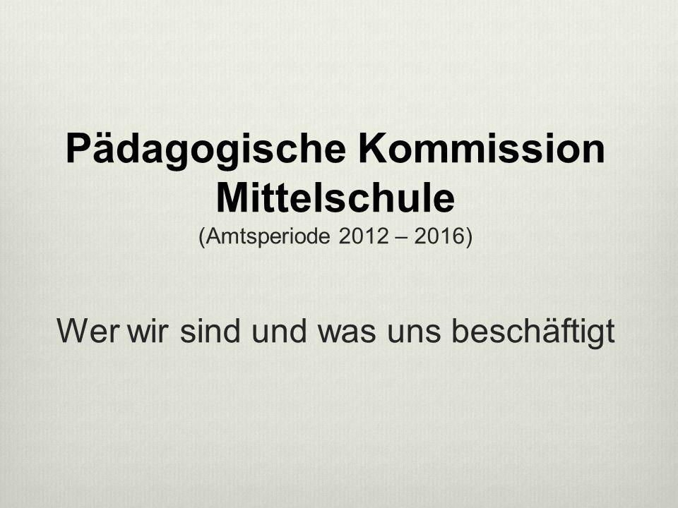 Pädagogische Kommission Mittelschule (Amtsperiode 2012 – 2016) Wer wir sind und was uns beschäftigt