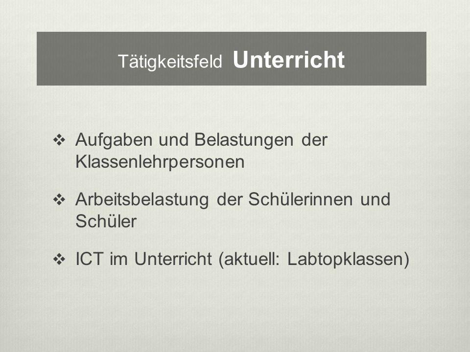 Aufgaben und Belastungen der Klassenlehrpersonen Arbeitsbelastung der Schülerinnen und Schüler ICT im Unterricht (aktuell: Labtopklassen) Tätigkeitsfeld Unterricht