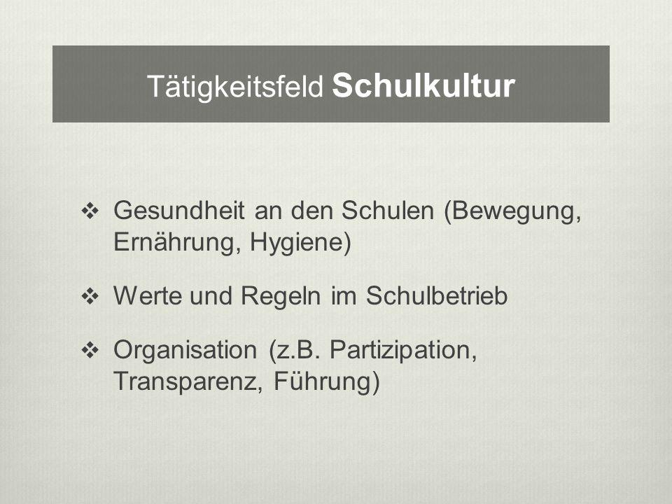 Gesundheit an den Schulen (Bewegung, Ernährung, Hygiene) Werte und Regeln im Schulbetrieb Organisation (z.B.