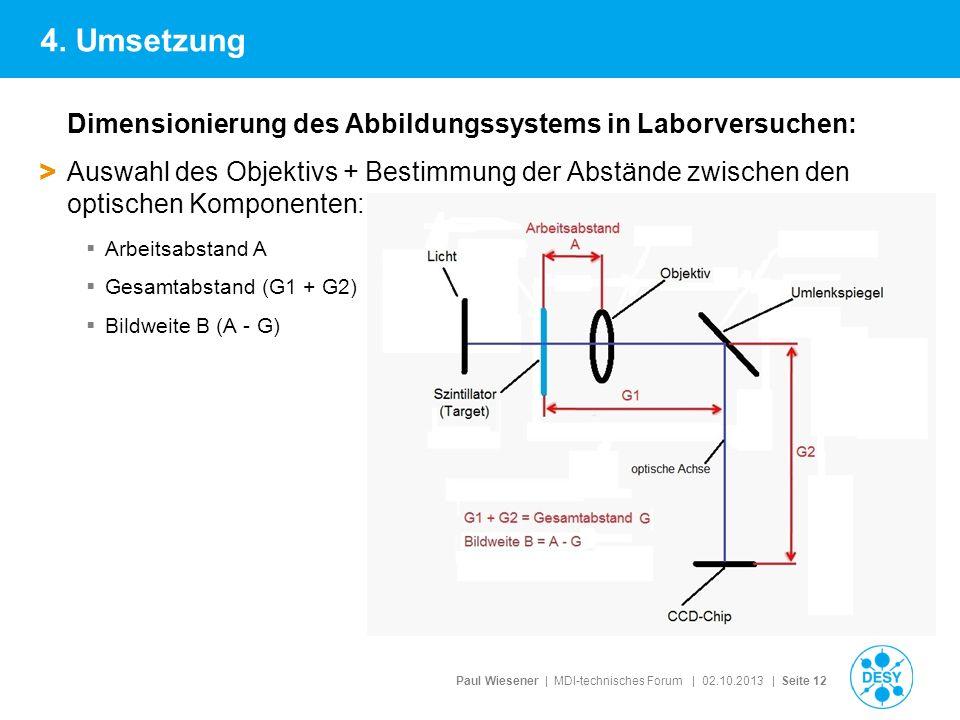 Paul Wiesener | MDI-technisches Forum | 02.10.2013 | Seite 12 Dimensionierung des Abbildungssystems in Laborversuchen: > Auswahl des Objektivs + Besti