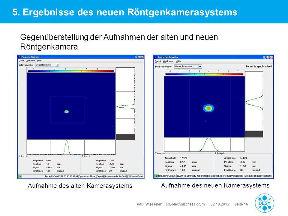 Paul Wiesener | MDI-technisches Forum | 02.10.2013 | Seite 16 Gegenüberstellung der Aufnahmen der alten und neuen Röntgenkamera 5. Ergebnisse des neue