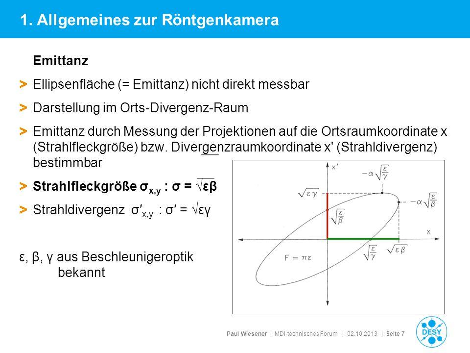 Paul Wiesener | MDI-technisches Forum | 02.10.2013 | Seite 7 Emittanz > Ellipsenfläche (= Emittanz) nicht direkt messbar > Darstellung im Orts-Diverge