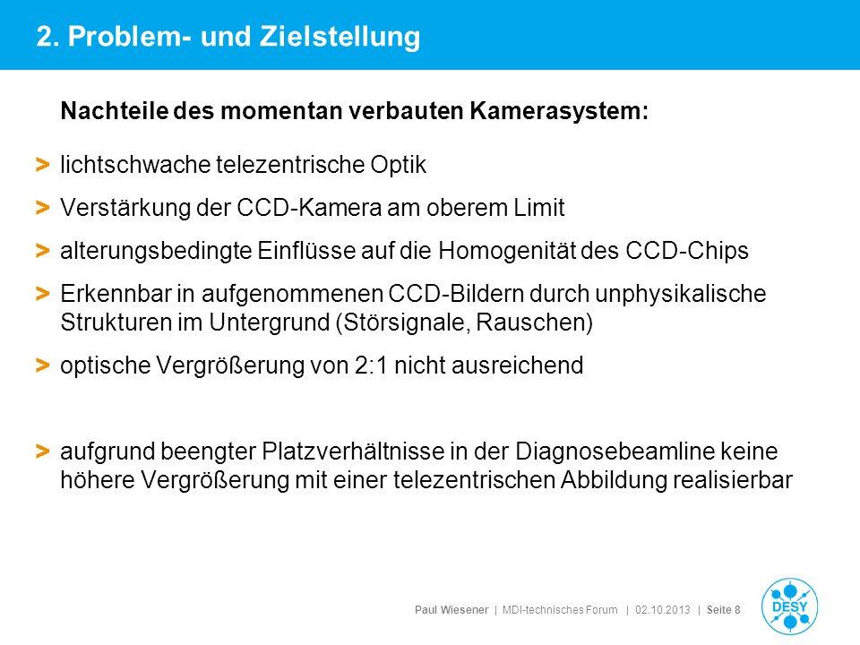 Paul Wiesener | MDI-technisches Forum | 02.10.2013 | Seite 8 Nachteile des momentan verbauten Kamerasystem: > lichtschwache telezentrische Optik > Ver