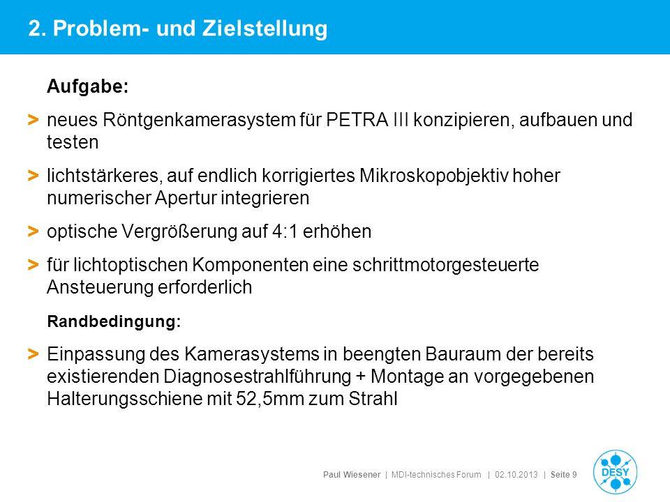 Paul Wiesener | MDI-technisches Forum | 02.10.2013 | Seite 9 Aufgabe: > neues Röntgenkamerasystem für PETRA III konzipieren, aufbauen und testen > lic