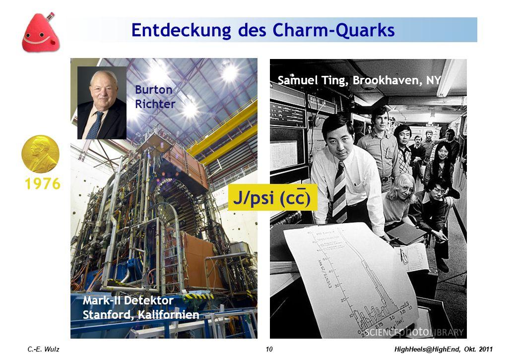 HighHeels@HighEnd, Okt. 2011C.-E. Wulz10HighHeels@HighEnd, Okt. 2011 Entdeckung des Charm-Quarks Mark-II Detektor Stanford, Kalifornien Burton Richter