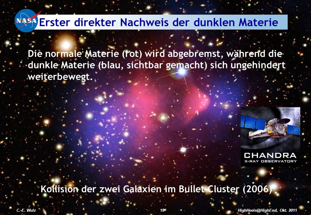 HighHeels@HighEnd, Okt. 2011C.-E. Wulz19C.-E. Wulz19HighHeels@HighEnd, Okt. 2011 Kollision der zwei Galaxien im Bullet Cluster (2006) Die normale Mate