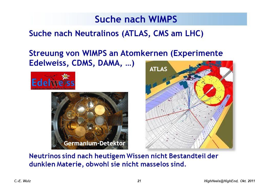 C.-E. Wulz21 Suche nach WIMPS Suche nach Neutralinos (ATLAS, CMS am LHC) Streuung von WIMPS an Atomkernen (Experimente Edelweiss, CDMS, DAMA, …) Neutr