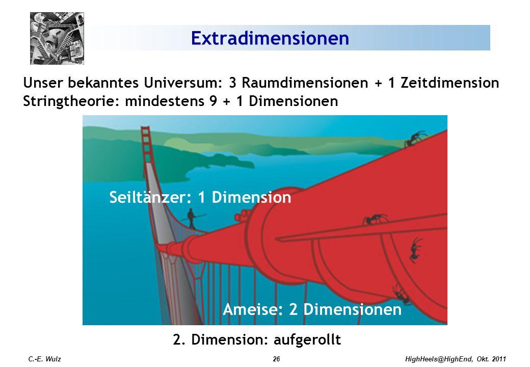 HighHeels@HighEnd, Okt. 2011 Unser bekanntes Universum: 3 Raumdimensionen + 1 Zeitdimension Stringtheorie: mindestens 9 + 1 Dimensionen 2. Dimension: