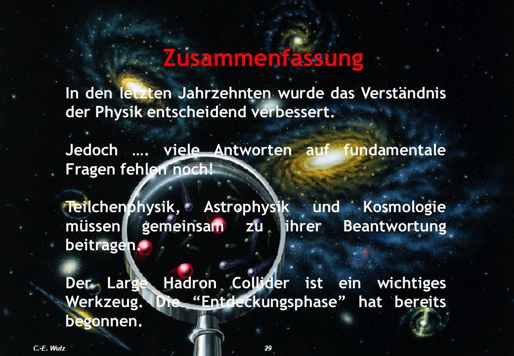 Zusammenfassung In den letzten Jahrzehnten wurde das Verständnis der Physik entscheidend verbessert. Jedoch …. viele Antworten auf fundamentale Fragen