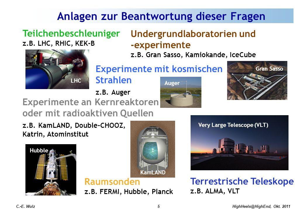HighHeels@HighEnd, Okt. 2011C.-E. Wulz5 Teilchenbeschleuniger z.B. LHC, RHIC, KEK-B Undergrundlaboratorien und -experimente z.B. Gran Sasso, Kamiokand