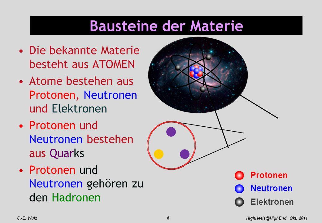 HighHeels@HighEnd, Okt. 2011 Bausteine der Materie Die bekannte Materie besteht aus ATOMEN Atome bestehen aus Protonen, Neutronen und Elektronen Proto