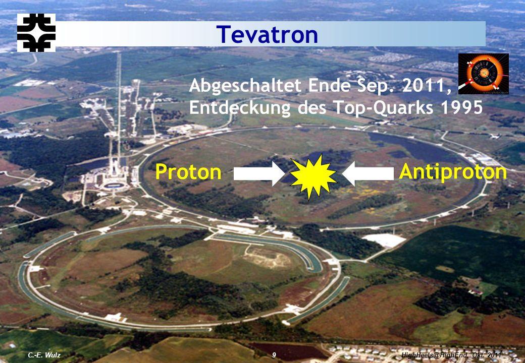 HighHeels@HighEnd, Okt. 2011C.-E. Wulz9 Proton Antiproton HighHeels@HighEnd, Okt. 2011 Abgeschaltet Ende Sep. 2011, Entdeckung des Top-Quarks 1995 Tev