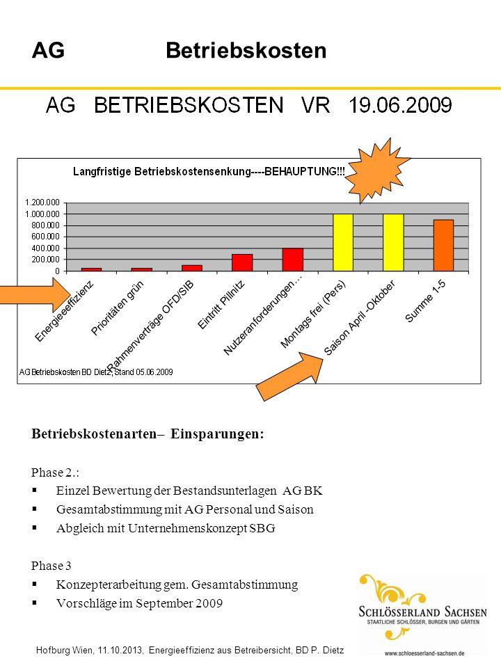 Hofburg Wien, 11.10.2013, Energieeffizienz aus Betreibersicht, BD P. Dietz Betriebskostenarten– Einsparungen: Phase 2.: Einzel Bewertung der Bestandsu
