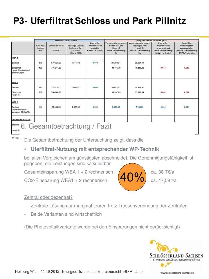 Hofburg Wien, 11.10.2013, Energieeffizienz aus Betreibersicht, BD P. Dietz P3- Uferfiltrat Schloss und Park Pillnitz 40%