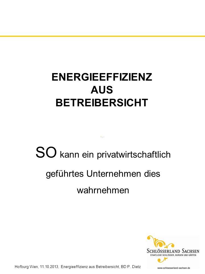 Hofburg Wien, 11.10.2013, Energieeffizienz aus Betreibersicht, BD P. Dietz ENERGIEEFFIZIENZ AUS BETREIBERSICHT SO kann ein privatwirtschaftlich geführ