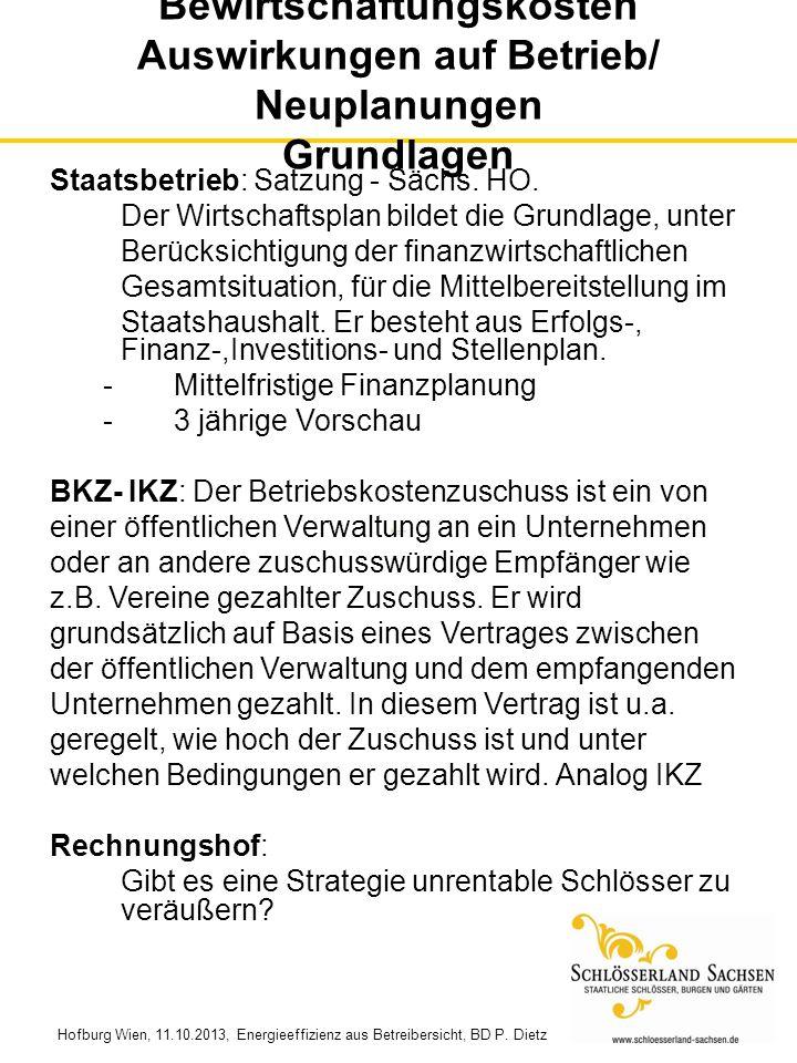 Hofburg Wien, 11.10.2013, Energieeffizienz aus Betreibersicht, BD P. Dietz Bewirtschaftungskosten Auswirkungen auf Betrieb/ Neuplanungen Grundlagen St