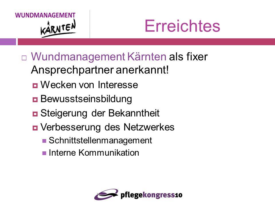Wundmanagement Kärnten als fixer Ansprechpartner anerkannt.