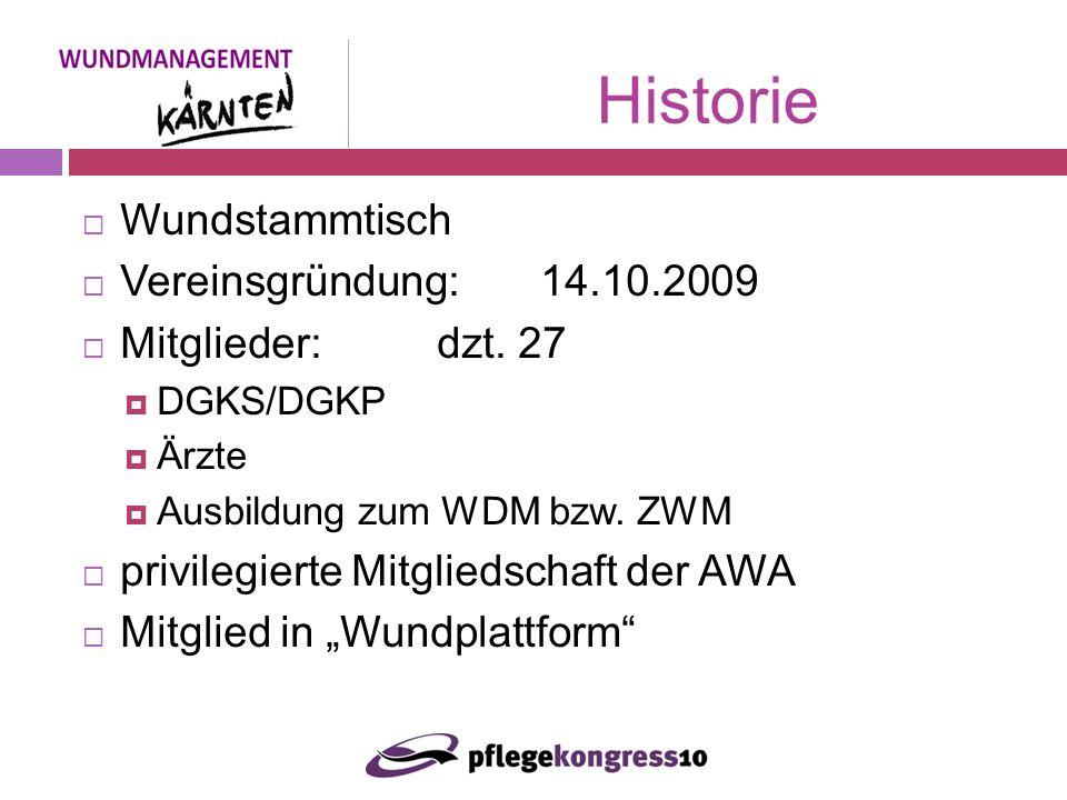Wundstammtisch Vereinsgründung: 14.10.2009 Mitglieder: dzt.