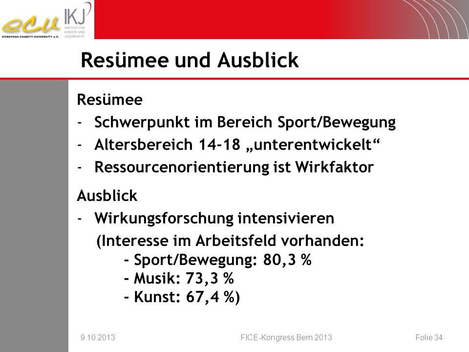 Resümee -Schwerpunkt im Bereich Sport/Bewegung -Altersbereich 14-18 unterentwickelt -Ressourcenorientierung ist Wirkfaktor Resümee und Ausblick 9.10.2