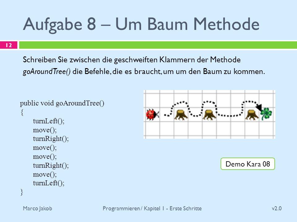 Marco Jakob Aufgabe 8 – Um Baum Methode v2.0 Programmieren / Kapitel 1 - Erste Schritte 12 Schreiben Sie zwischen die geschweiften Klammern der Method
