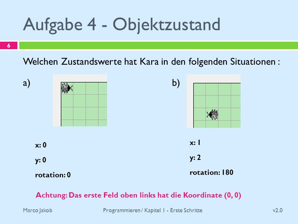 Marco Jakob Aufgabe 4 - Objektzustand v2.0 Programmieren / Kapitel 1 - Erste Schritte 6 Welchen Zustandswerte hat Kara in den folgenden Situationen :