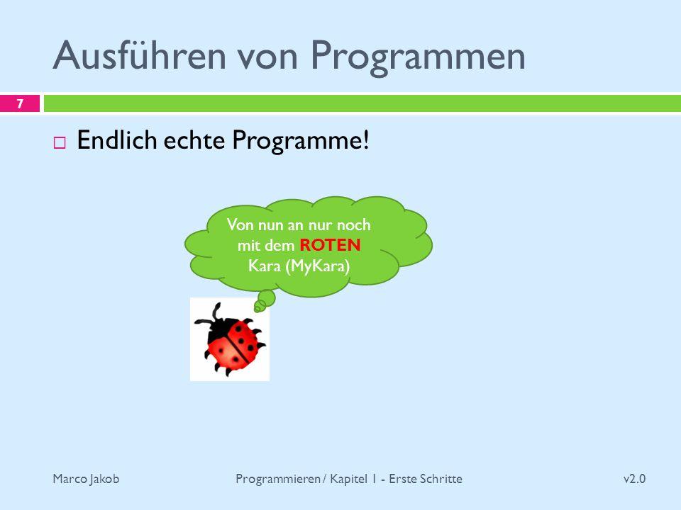 Marco Jakob Ausführen von Programmen v2.0 Programmieren / Kapitel 1 - Erste Schritte 7 Endlich echte Programme! Von nun an nur noch mit dem ROTEN Kara