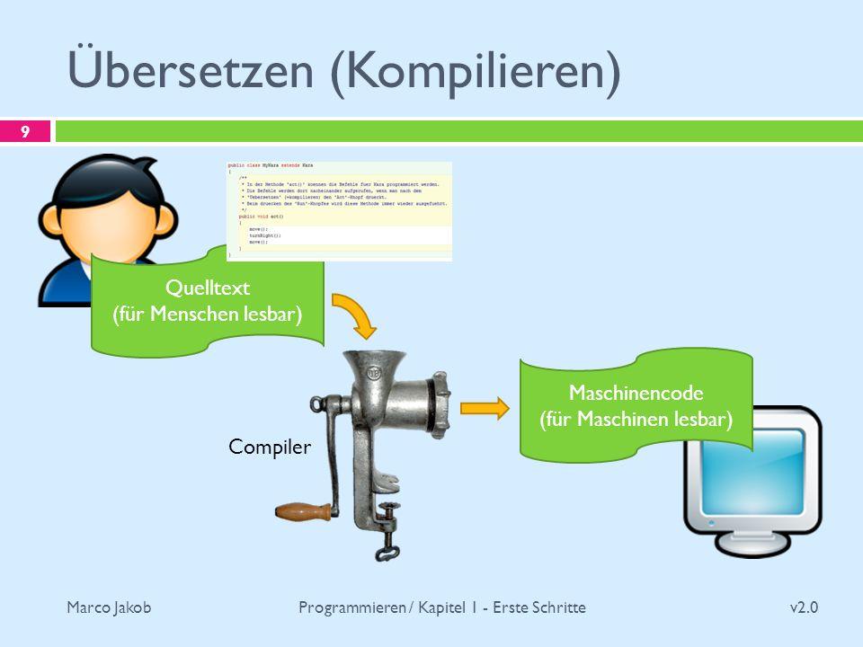Marco Jakob Übersetzen (Kompilieren) v2.0 Programmieren / Kapitel 1 - Erste Schritte 9 Quelltext (für Menschen lesbar) Maschinencode (für Maschinen le