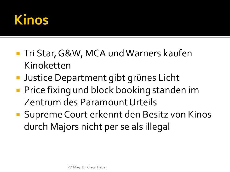 Tri Star, G&W, MCA und Warners kaufen Kinoketten Justice Department gibt grünes Licht Price fixing und block booking standen im Zentrum des Paramount