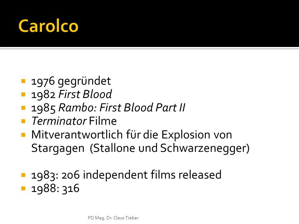 1976 gegründet 1982 First Blood 1985 Rambo: First Blood Part II Terminator Filme Mitverantwortlich für die Explosion von Stargagen (Stallone und Schwa