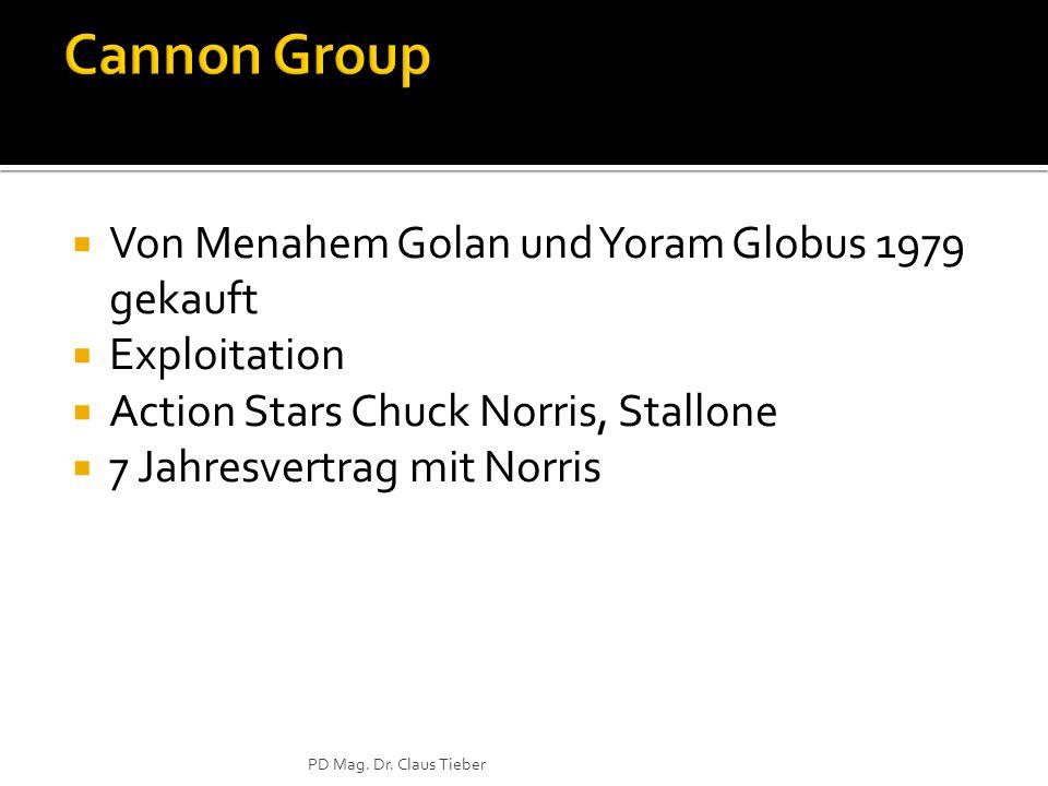 Von Menahem Golan und Yoram Globus 1979 gekauft Exploitation Action Stars Chuck Norris, Stallone 7 Jahresvertrag mit Norris PD Mag. Dr. Claus Tieber