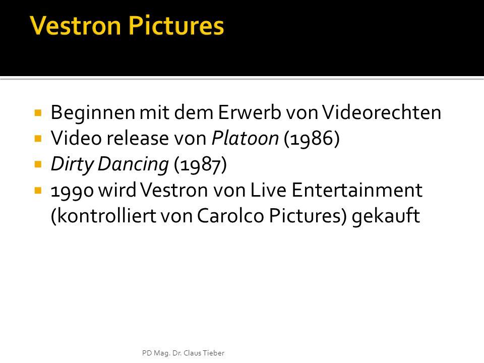 Beginnen mit dem Erwerb von Videorechten Video release von Platoon (1986) Dirty Dancing (1987) 1990 wird Vestron von Live Entertainment (kontrolliert