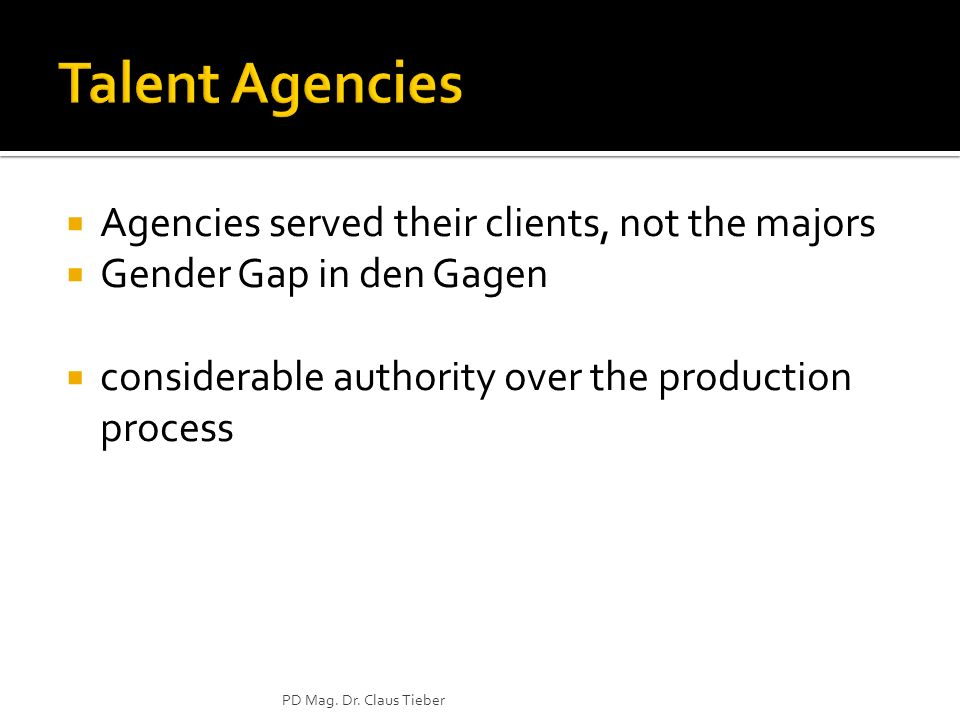 Agencies served their clients, not the majors Gender Gap in den Gagen considerable authority over the production process PD Mag.
