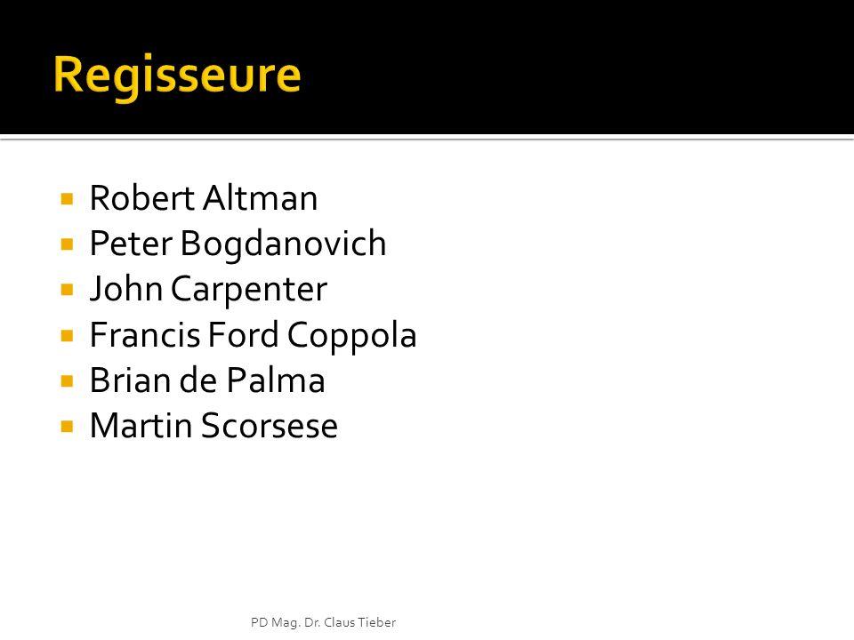 Robert Altman Peter Bogdanovich John Carpenter Francis Ford Coppola Brian de Palma Martin Scorsese PD Mag. Dr. Claus Tieber