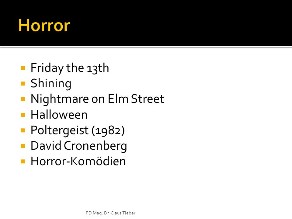 Friday the 13th Shining Nightmare on Elm Street Halloween Poltergeist (1982) David Cronenberg Horror-Komödien PD Mag.