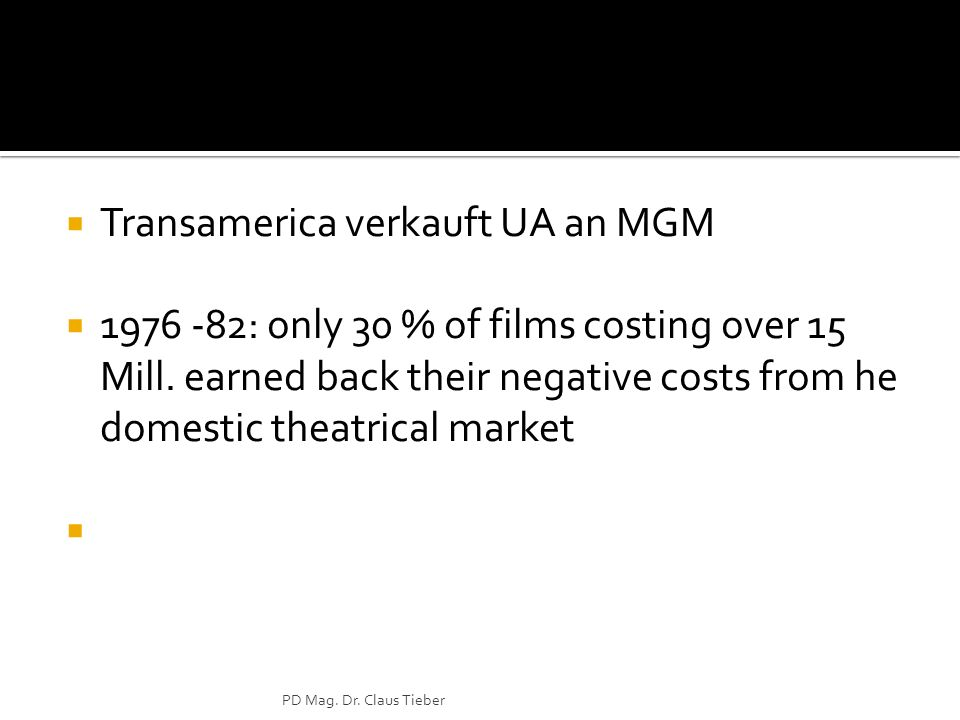 Transamerica verkauft UA an MGM 1976 -82: only 30 % of films costing over 15 Mill.