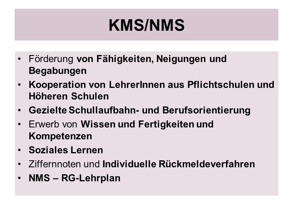 KMS/NMS Förderung von Fähigkeiten, Neigungen und Begabungen Kooperation von LehrerInnen aus Pflichtschulen und Höheren Schulen Gezielte Schullaufbahn-